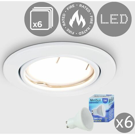 6 x Fire Rated Tiltable Ceiling Recessed - Complete LED GU10 Bulbs