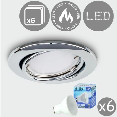 6 x Fire Rated Tiltable Gu10 Modern Round Ceiling Recessed - Supplied With 6 x Gu10 LED Bulbs