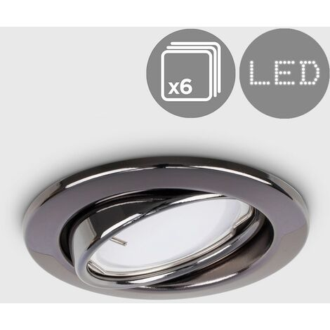"main image of ""6 x GU10 Tiltable Steel Ceiling Recessed Spotlights - Black Chrome"""