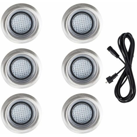 6 x LED Round IP67 Rated Garden Decking / Lights Kit - 3M Extension Cable - White