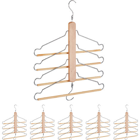 6 x Multi Clothes Hanger, Holder with 4 Flexible Coat Hangers, Wardrobe Organiser, Metal Hooks, Lotus Wood, Natural