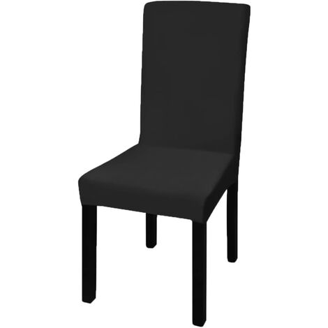 neu.haus ® 6x Stuhlhusse 42-53cm Schwarz Stretchhusse Stuhlbezug Stuhlüberzug