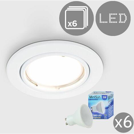 6 x Tiltable Steel Ceiling Recessed Spotlights + Cool White LED GU10 Bulbs - Gloss White - White