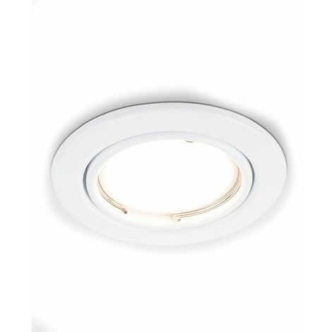 6 x Tiltable Steel Ceiling Recessed Spotlights + LED GU10 Bulbs