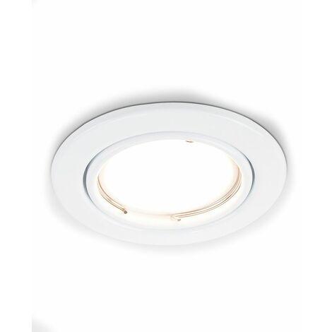 6 x Tiltable Steel Ceiling Recessed Spotlights + Warm White LED GU10 Bulbs - Gloss White - White