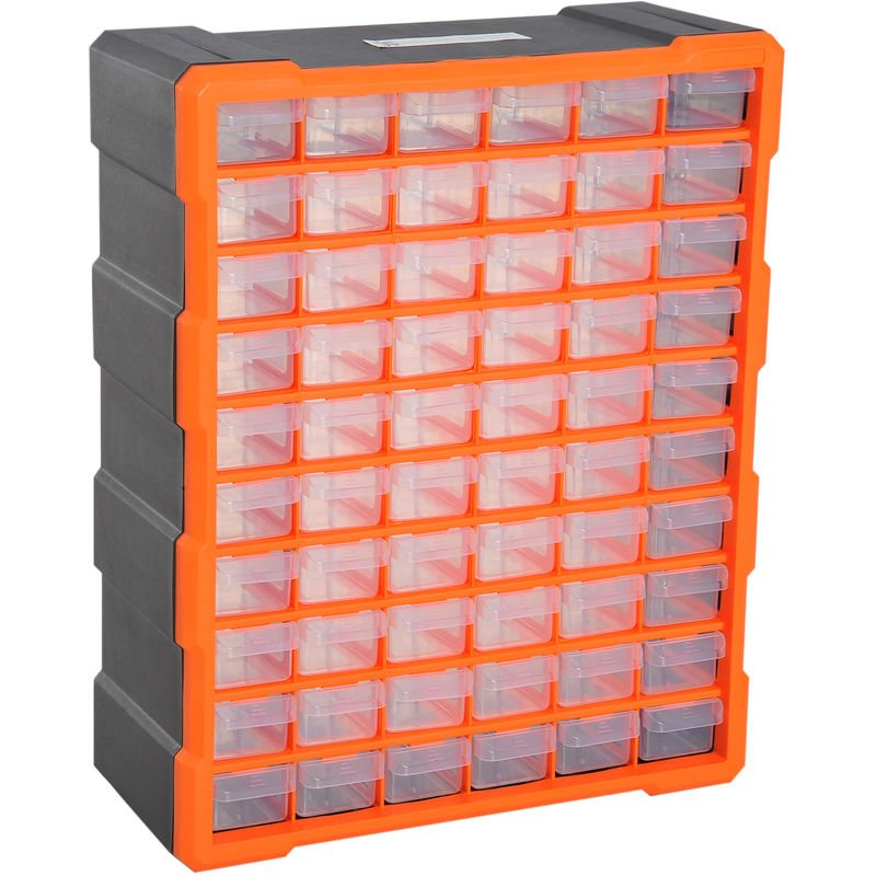 Image of 60 Drawers Parts Organiser Wall Mount Storage Cabinet Tools DURHAND - Orange