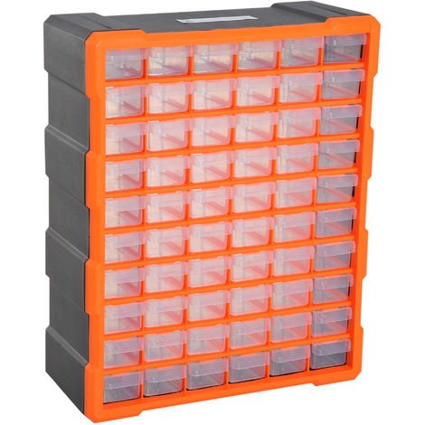 60 Drawers Parts Organiser Wall Mount Storage Cabinet Tools DURHAND - Orange