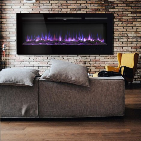 60 inch Fireplace LED Wall Insert Fire Flat Glass Panel 9 Color Flames