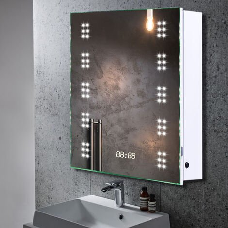 60 LED Illuminated Bathroom Mirror Cabinet with Lights Shaver Socket Demister and Sensor 700x500MM