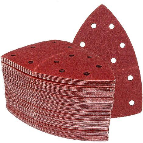 60 morceaux de papier de verre auto-adhésif en velours arrière type fer triangulaire pour plusieurs ponceuses, feuilles abrasives, papier de verre