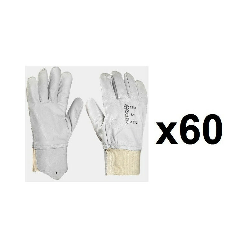 60 paires de gants cuir tout fleur poignet tricot MO2250 (9) - Taille : 9 - Europrotection