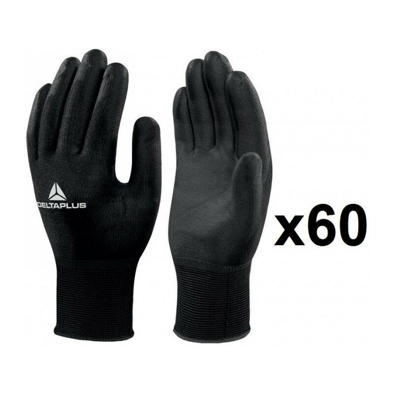 60 paires de gants tricot polyamide / paume PU sans latex VV702NO (10) - Taille : 10 - Delta Plus