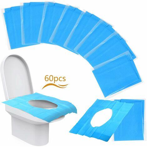 60 Pcs Protection Cuvette de Toilette Jetable Protège Abattant WC Publique Antibactérien pour Hôtel Park Housse Siège de Toilettes pour Voyage Emballage Individuel