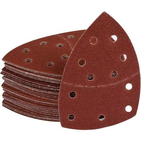 60 Pieces Paper Sandwork 40/60/80/120/180/240 Grains Papier de verre Papier abrasif Abrasifs 152mm x 105mm avec 11 trous pour feuilles multicouches