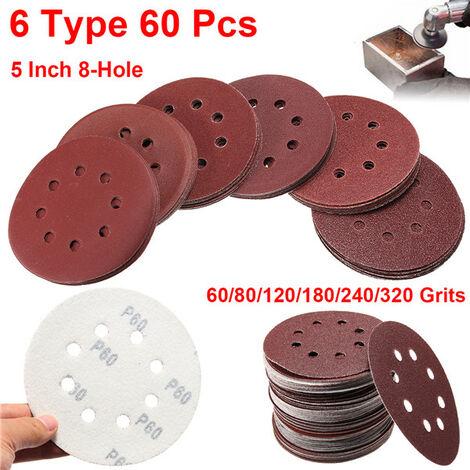 60 piezas papel de lija lijado disco de pulido almohadilla 125 mm 8 agujeros grano 60 # -320 #