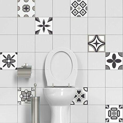 60 Stickers adhésifs carrelages | Sticker Autocollant Carrelage - Mosaïque carrelage mural salle de bain et cuisine | Carrelage adhésif - design rosaces nuances de gris - 10 x 10 cm - 60 pièces