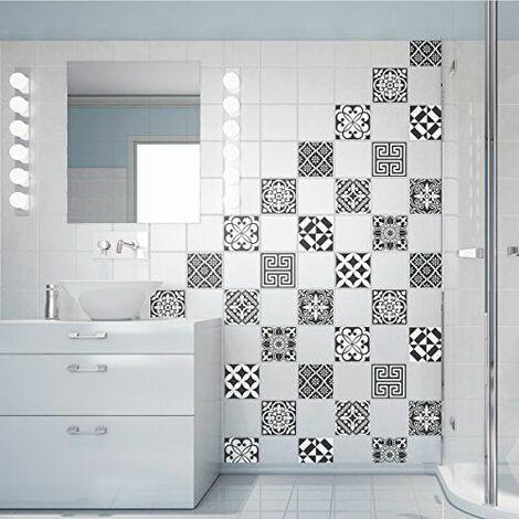 60 Stickers adhésifs carrelages | Sticker Autocollant Carrelage - Mosaïque carrelage mural salle de bain et cuisine | Carrelage adhésif - nuance de gris traditionnels - 10 x 10 cm - 60 pièces