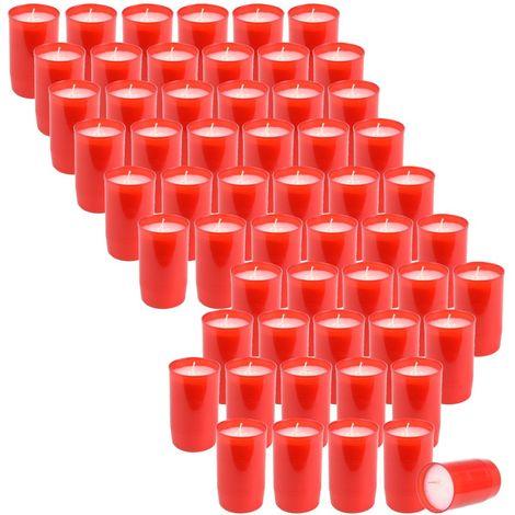 60 Stück ST. JAKOB'S Nr.3 Premium Grablichter, Kompositions Öl-Lichter, Rot