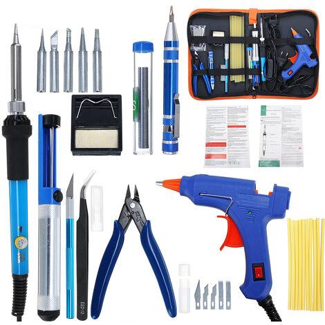 60 W 110 V-220 V fer à souder électrique kit d'outils de soudage pince à fil à souder --- EU 220 V réglementations européennes Prise UE de type D