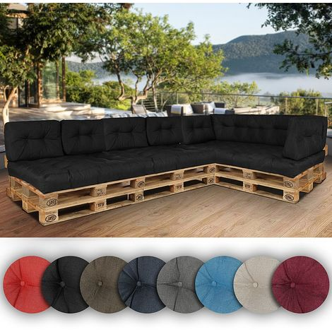 60 x 40 x 20/10 cm Pallet cushion in red linen Seat cushion Pallet cushion Pallet support Back cushion Side cushions