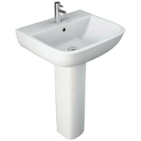 600 520mm 1 Tap Hole Basin 600 Full Pedestal for 520mm Basin