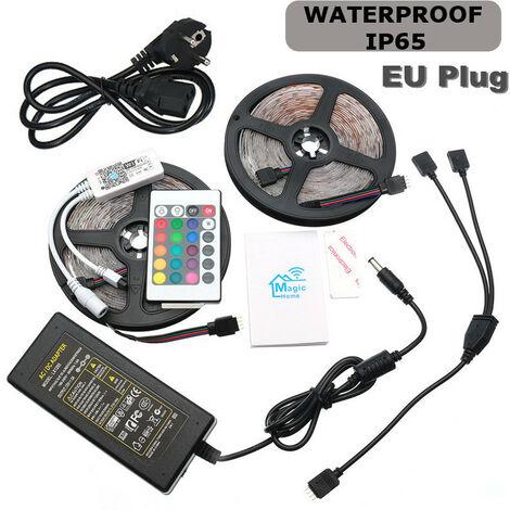 600 LED Impermeable autoadhesivo 3528 RGB 2x5M Tira de LED + 24 teclas de control remoto