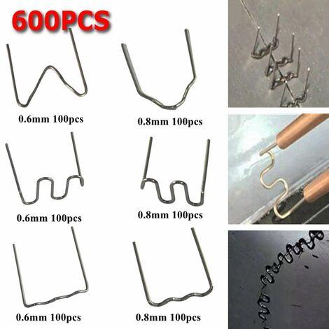 "main image of ""600 PCS Grapas de acero inoxidable precortadas Grapas calientes de 0,8 mm / 0,6 mm para grapadora de plástico"""