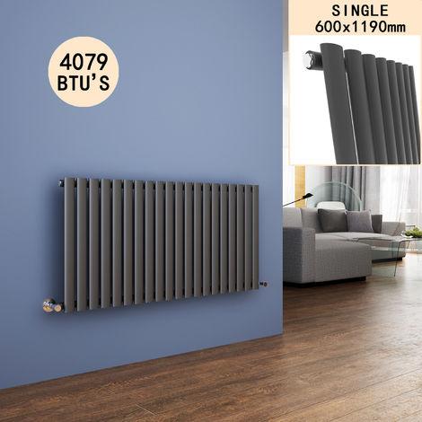 600 x 1190 mm Horizontal Column Designer Radiator Anthracite Oval Single Panel Modern Heater