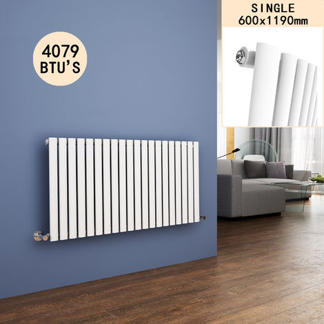 600 x 1190 mm Horizontal Column Radiators Gloss White Oval Single Panel Radiators Heater