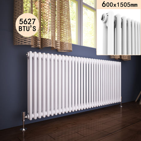 """main image of """"600 x 1505 mm Traditional Column Radiators Horizontal Double Panel Cast Iron Central Heating Rads"""""""