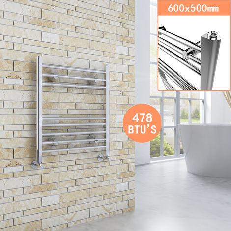 600 x 500 mm Chrome Straight Towel Rail Radiator Bathroom Heated Towel Radiator