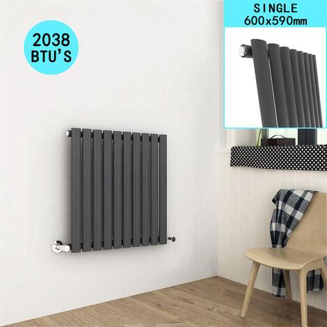 600 x 590 mm Horizontal Column Designer Radiator Anthracite Single Panel