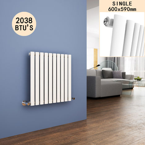 600 x 590 mm Horizontal Column Radiators Gloss White Oval Single Panel Radiators Heater