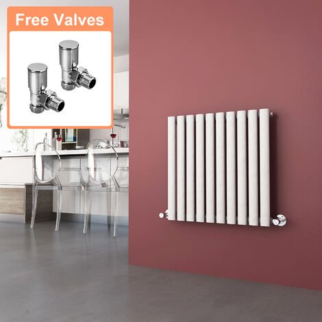 600 x 590 mm Horizontal Column Radiators Gloss White Oval Single Panel Radiators Heater + Angled Radiator Valves