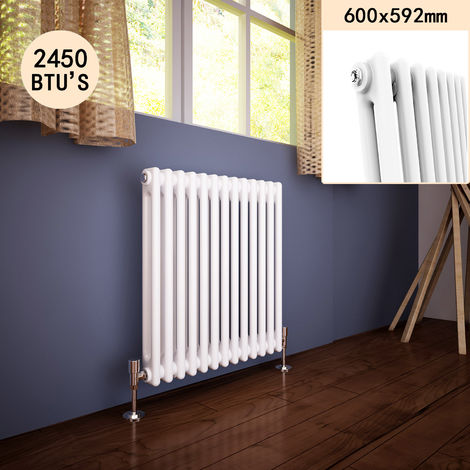 600 x 592 mm Traditional Cast Iron Style Horizontal Radiator with White Double Column