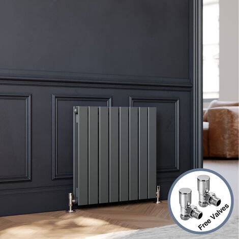 600 x 600 mm Anthracite Horizontal Column Designer Radiator Double Flat Panel Radiator Heater + Angled Radiator Valves