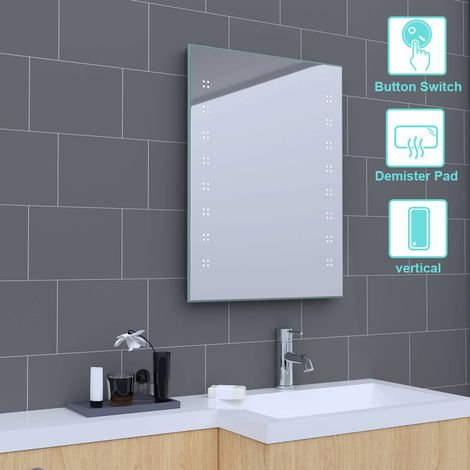 600 x 800mm Bathroom Illuminated LED Mirror with Demister(Type E)