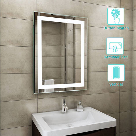 600 x 800mm BathroomBathroom Illuminated LED Mirror with Demister(Type C)