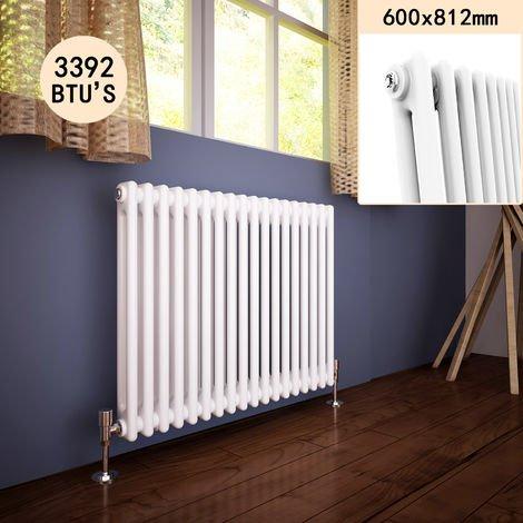 600 x 812 mm Traditional Horizontal Cast Iron Style Radiator with White Double Column