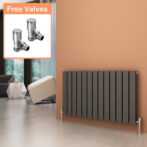 600 x 988 mm Anthracite Horizontal Radiator Column Designer Radiator Heater Double Flat Panel + Angled Radiator Valves