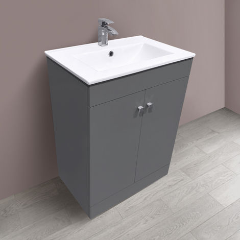600mm 2 Door Gloss Grey Wash Basin Cabinet Vanity Sink Unit Bathroom Furniture
