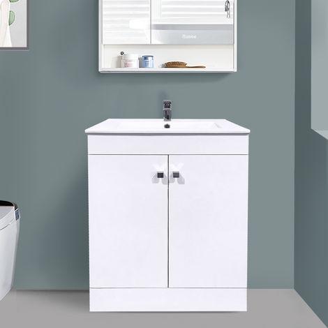 "main image of ""600mm 2 Door Gloss White Wash Basin Cabinet Floor Standing Vanity Sink Unit Bathroom Furniture"""