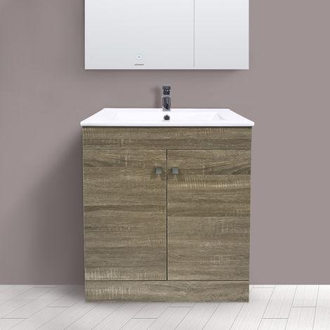 600mm 2 Door Grey Oak Effect Wash Basin Cabinet Floor Standing Vanity Sink Unit Bathroom Furniture