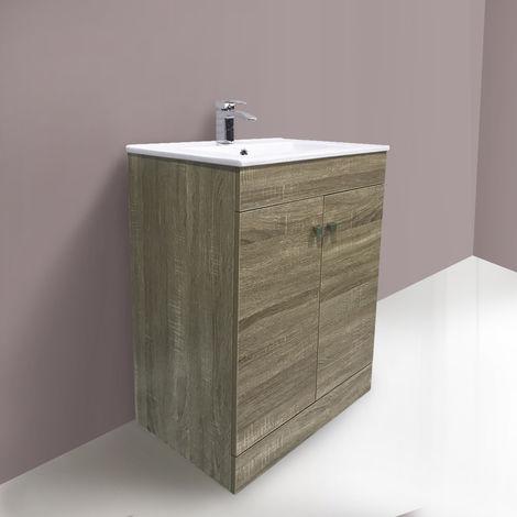 600mm 2 Door Grey Oak effect Wash Basin Cabinet Vanity Sink Unit Bathroom Furniture