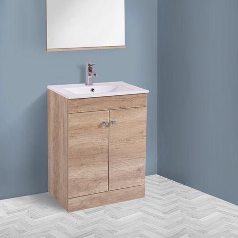 600mm 2 Door Light Oak Effect Wash Basin Cabinet Floor Standing Vanity Sink Unit Bathroom Furniture