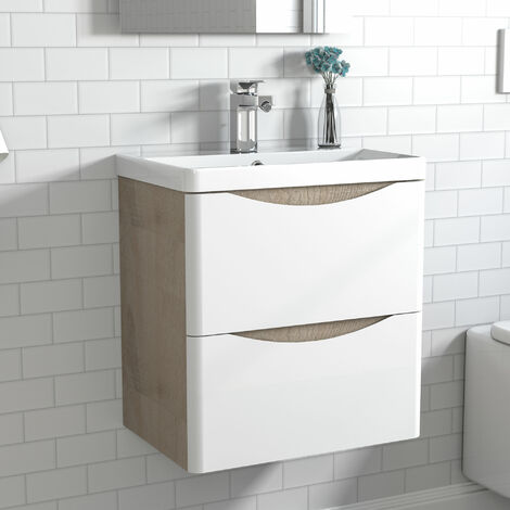 600mm 2 Drawer Wall Hung Bathroom Cabinet Vanity Sink Unit with Basin,Oak Body White Drawer Surface