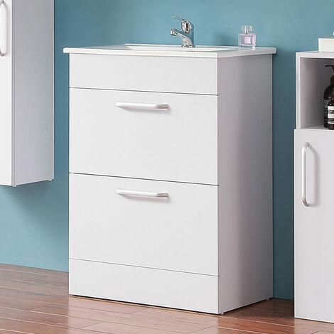 """main image of """"600mm 2 Drawers Floor Standing Bathroom Cabinet Storage Furniture Vanity Sink Unit"""""""