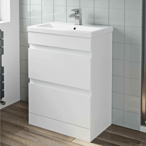 600mm Bathroom Basin Sink Vanity Unit 2 Drawer Cabinet Gloss White