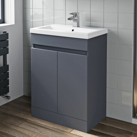 600mm Bathroom Basin Vanity Unit 2 Door Cabinet Modern Grey Gloss