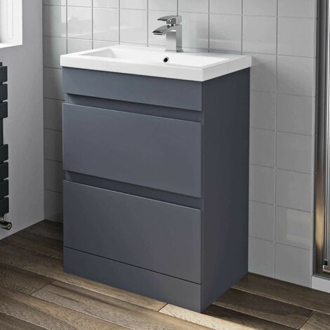 600mm Bathroom Basin Vanity Unit 2 Drawer Cabinet Modern Grey Gloss